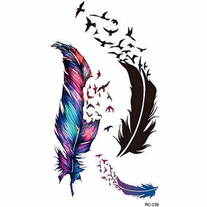 New Hot Waterproof Small Fresh Goose Feather Color Temporary Tattoos Stickers