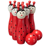 New Sale Wooden Bowling Ball Skittle Animal Shape Game For Kids Children Toy Red