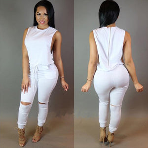 New Sexy Women Jumpsuit Sleeveless Bodysuit Zipper Knee Holes Elastic Pants Playsuit