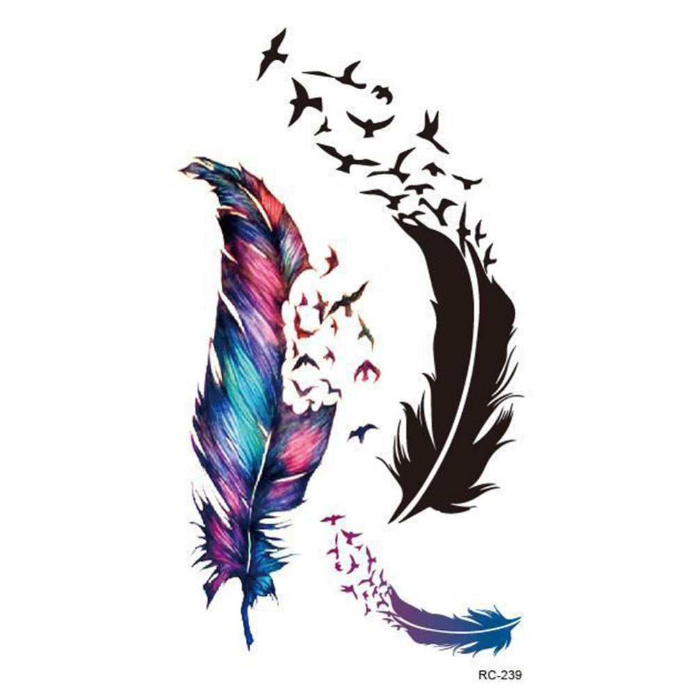 New Small Fresh Wild Goose Feather Pattern Temporary Tattoo Waterproof tickers Temporary Body Art