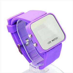 New Square Mirror Face Silicone Band Digital Watch Red LED Watches Electronics WristWatch Sport Clock Hours 12 colour