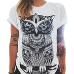 New Style Summer Fashion Women Owl/Letters /eye Print T-shirt Loose Round Neck Short-sleeved Harajuku Retro T-shirt