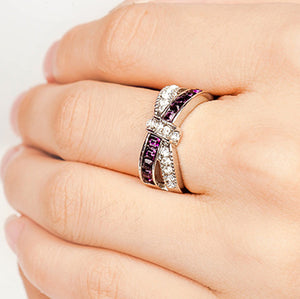 New cross finger ring for lady paved cz zircon luxury hot Princess women Wedding Engagement Ring purple pink color jewelry