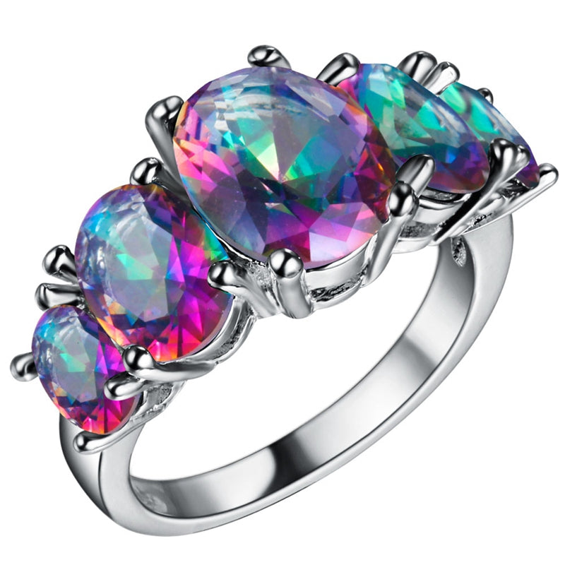 Nice Plated Fashion Wholesale OVAL CUT RAINBOW Nice & Popular SILVER PLATED RING SIZE 6 7 8 9
