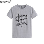 NiceMix Brand New 2017 Summer Women T-shirt Printed Magic Letters Fashion O-Neck Short Sleeve Loose Tee Shirt Femme