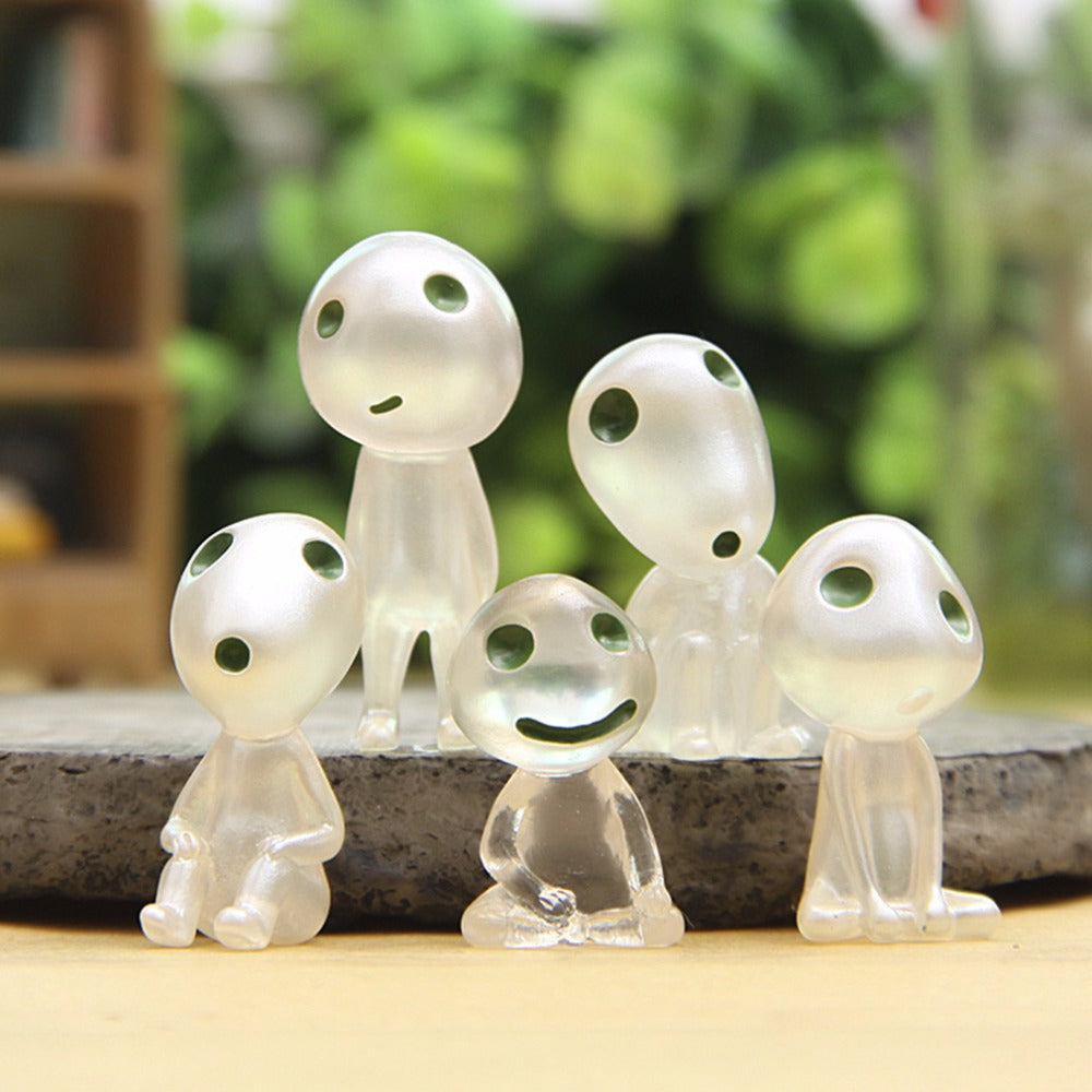 OCDAY Princess Mononoke Luminous Elves Tree Doll Elf Posture Figurines Hayao Miyazaki Cartoon Alien Small Doll Toy 5pcs/set Hot!