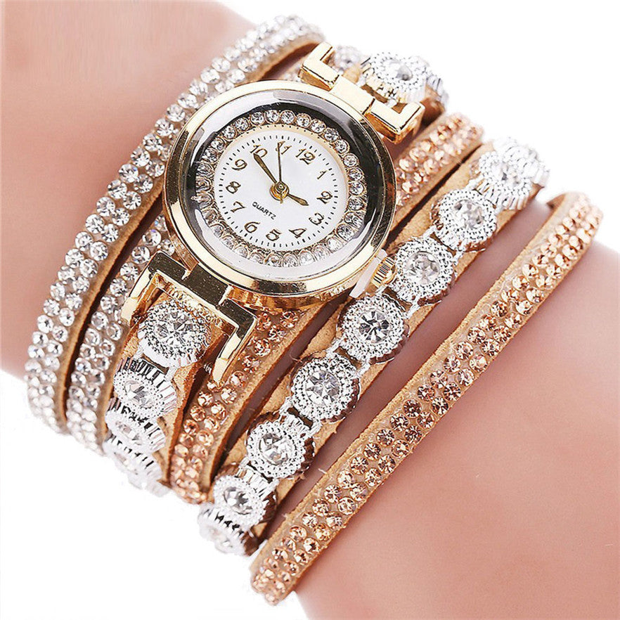 OTOKY Fashion Leather Bracelet Watch Women Casual Dress Vintage Rhinestone Wristwatch Luxury Quartz Watch Clock #30 Gift 1pc