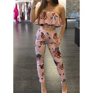Off Shoulder Sexy Floral Print Jumpsuits Two Piece Backless Club Rompers Womens Jumpsuit Strapless Full Bodysuit Summer Overalls