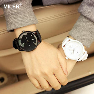 Original MILER Brand Soft Silicone Strap Jelly Quartz Watch Wristwatches for Women Ladies Lovers Black White