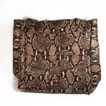 Vintage 90s pleather brown snakeskin tote bag in great condition.