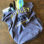 Grey upcycled t-shirt tote bag with yellow HURLEY INTERNATIONAL logo