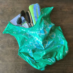 Green upcycled t-shirt tote bag with aqua blue bleach splatter tie dye pattern