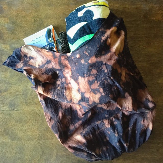 Black upcycled t-shirt tote bag with brown bleach splatter pattern
