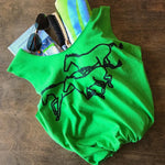 Green upcycled t-shirt tote bag with black horse graphic