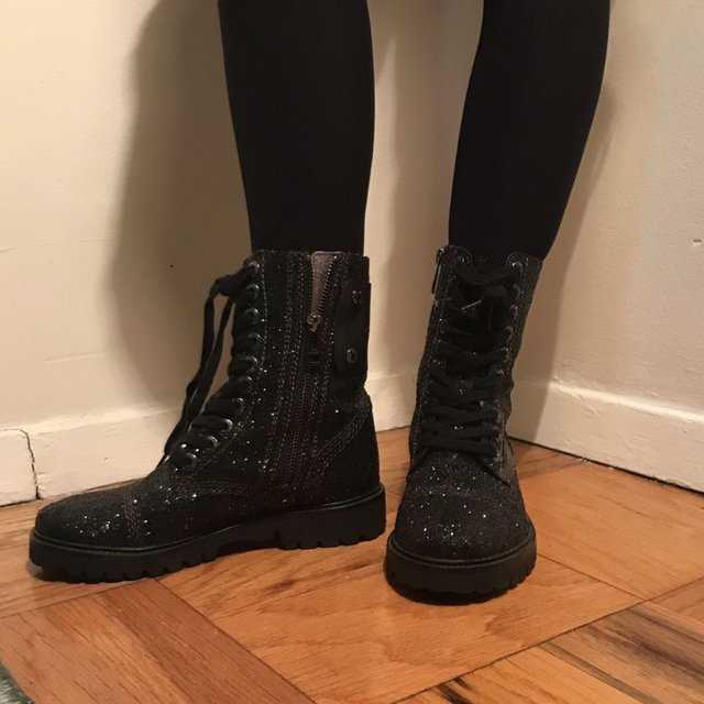Zadig and Voltaire black glitter combat boot