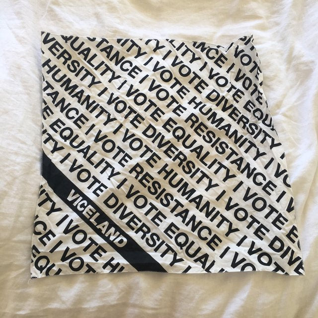 The cutest scarf with a v cool message on it. Tie it around your neck, tote bag or duffel or just hang it on the wall! Never used. Price includes shipping 🌿