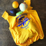 "Gold upcycled t-shirt tote bag with ""SUMMERBRIDGE SAN FRANCISCO SINCE 1978"" in cobalt blue"