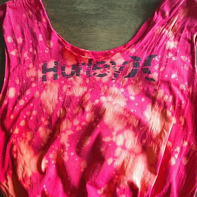 Red upcycled Hurley t-shirt tote bag with orange bleach splatter