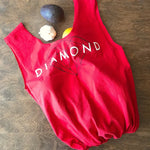 "Red upcycled t-shirt tote bag with diamond graphic in black and white text that says ""diamond"""