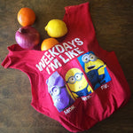 "Red upcycled minions t-shirt tote bag that says ""weekdays I'm like"""