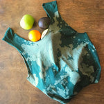 Green bleach splattered upcycled t-shirt tote bag