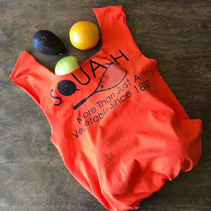 "Orange upcycled t-shirt tote bag that says ""Squash more than just a vegetable since 1830"""