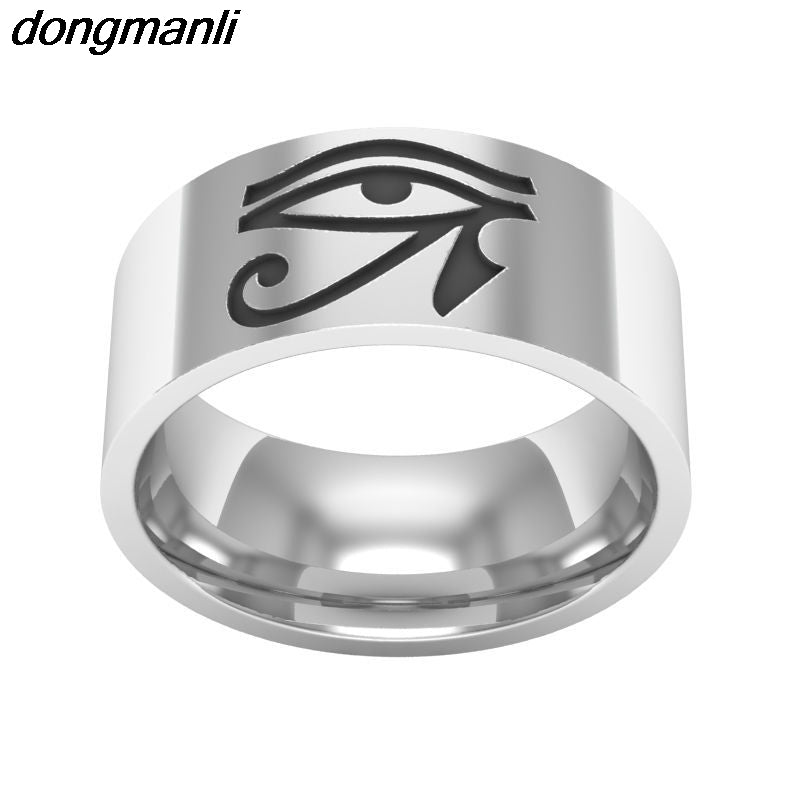 P636 dongmanli 8mm Mens Boys Egyptian Eye of Horus Ra Titanium steel Ring Dropshipping
