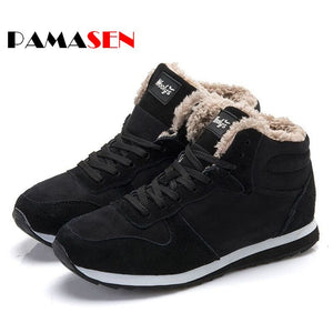 PAMASEN New Couple Unisex Boot Fashion Men Winter Snow Boots keep Warm Boots Plush Ankle Snow Work Shoes Men's Snow Boots 36-47