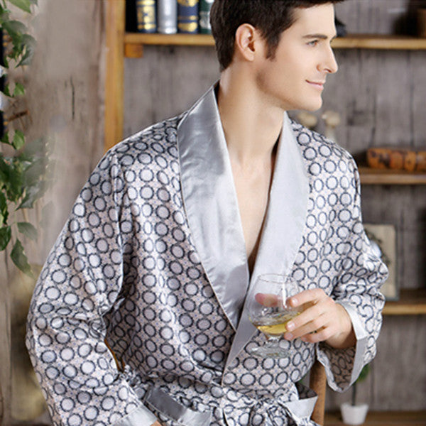Pijamas Male 2016 New Real Men Luxury Bathrobe Geometric Robes V-neck Imitation Silk Knitted Sleepwear Full Sleeve Nightwear