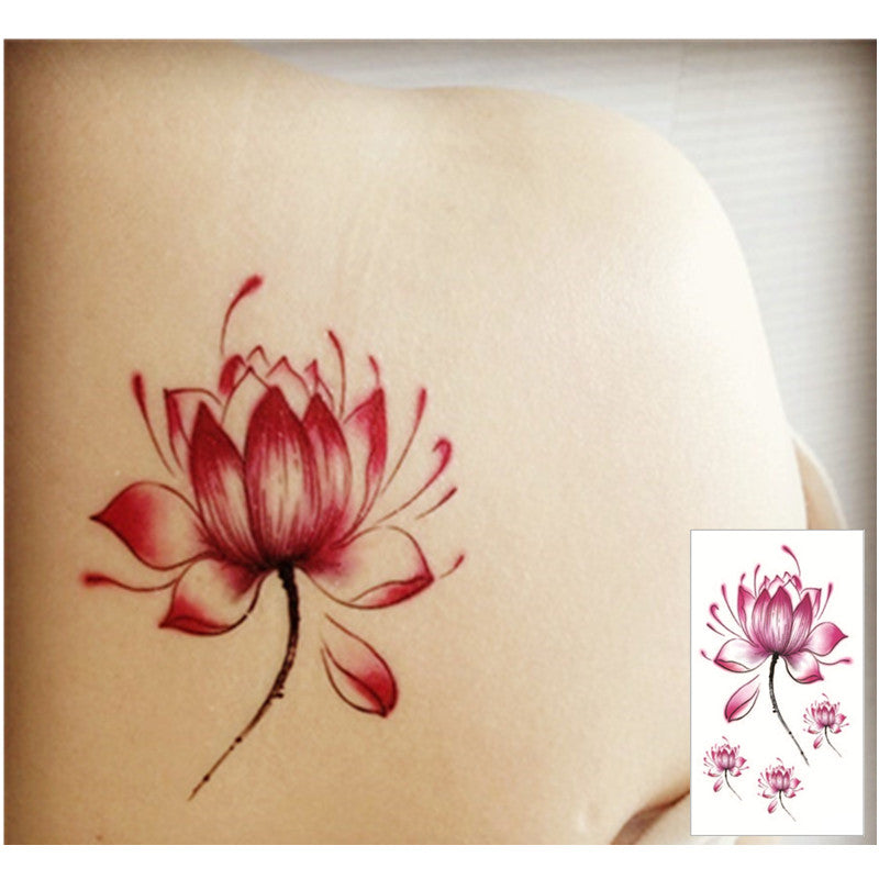 Pink Lotus Flash Tattoo Hand Sticker 10.5*6cm Small Waterproof Henna Beauty Temporary Body Tattoo Sticker Art FREE SHIPPING