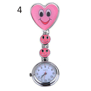 Popular Women's Cute Smiling Faces Heart Clip-On Pendant Nurse Fob Brooch Pocket Watch