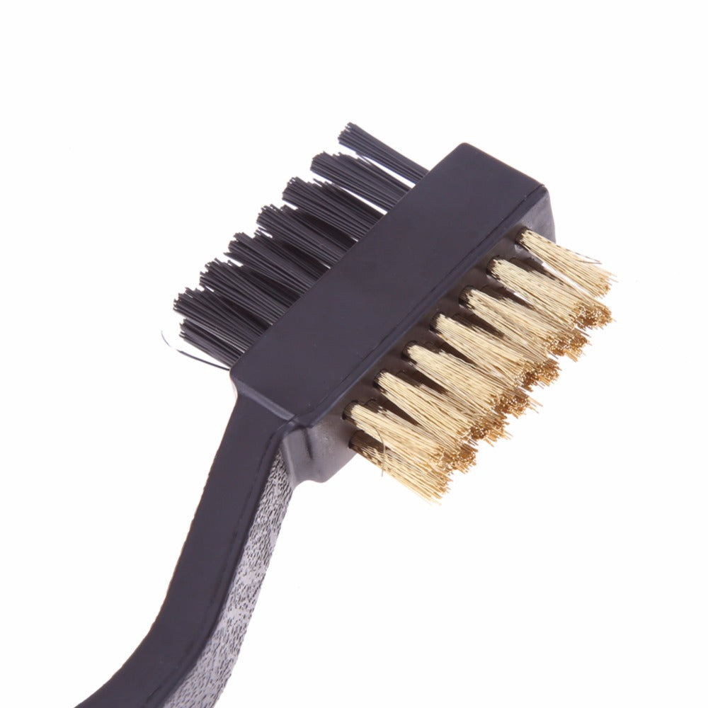 Portable Double Sided Sided Brass Wires Nylon Golf Brush Clip Groove Ball Cleaner Cleaning Kit Tool Accessories 2017 New Arrival