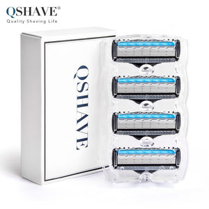 QShave Manual Shaving Razor Blade for Man Blade Refill X5 Blade Plus 1 Trimmer Blade USA World Class Blade, 4 Cartridges