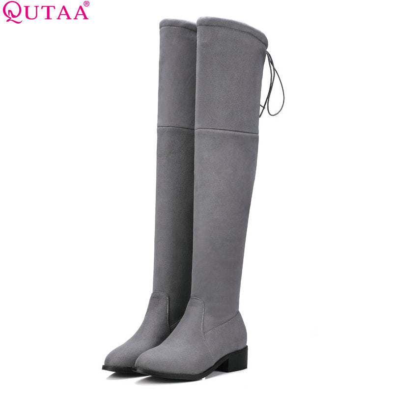 QUTAA 2017 Square Low Heel Woman Stretch Fabric Over The Knee Boots Women Shoes Winter Ladies Motorcycle Boots Size 34-43