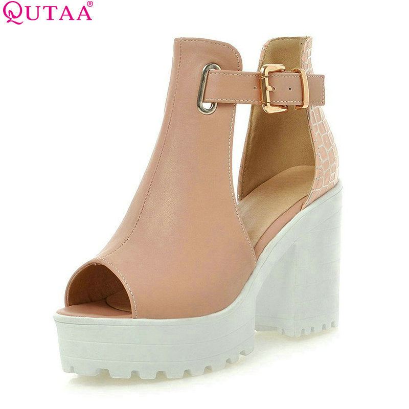 QUTAA Fashion Ladies Summer Shoes Square High Heel PU leather Peep Toe PatChwork Woman Pumps Ladies Wedding Shoe Size 34-43