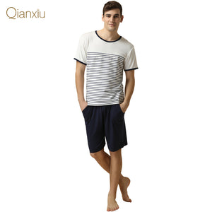 Qianxiu Brand Pajamas Casual Pants Suit For men Cotton Pajama Set
