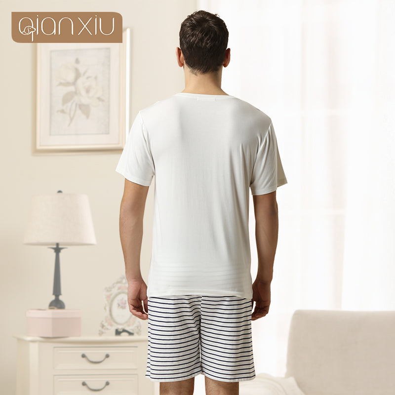 Qianxiu Brand Pajamas Summer Lounge Wear Cotton Trousers Men Modal Pajamas set 1PCS Free shipping