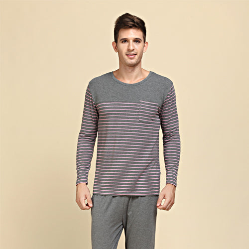 Qianxiu Pajamas Modal&Cotton Women and Men Sleepwear Classic Stripe Lounge Wear Long-sleeve Lovers Pajamas Set