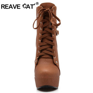 REAVE CAT 2017 Autumn Winter Women Ankle Boots high heels lace up leather double buckle platform short booties new black PA218