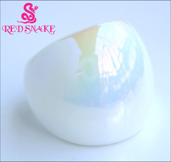 RED SNAKE Fashion Ring Handmade Pearl White texture glossiness Murano Glass Ring