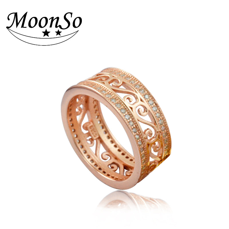 womens multi wedding cocktail band layered diamond bridge ring rose bands wide gold