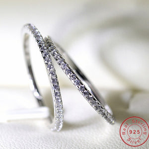 Real Eternity ring Stone 5A Zircon Birthstone 925 Sterling silver Women Wedding Ring Engagement Band Sz 4-10 Gift