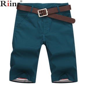 Riinr 2017 Summer New Mens Casual Shorts Cotton Slim Mid Beach Short Joggers Trousers Bermuda Masculina Knee Length Mens Shorts