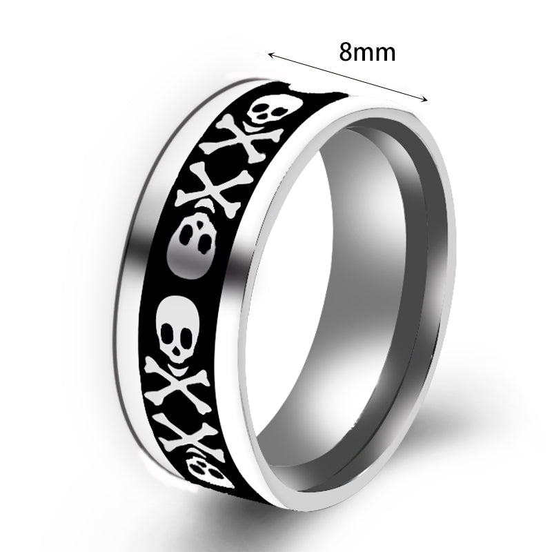 Ring For Gift Mens Jewelry Never Fade Stainless Steel Skull Ring Silver Color Filled Black Skeleton Pattern Man Biker