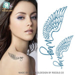 Rocoo Art Waterproof Tattoo Sticker Female Models English Wing Eagle Wings And A Small Fresh Temporary Tattoo Sticker HC1005