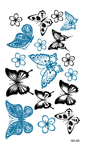 Rocooart HC1019 Black Blue Diamond Harajuku Waterproof Fake Tattoo Wholesale Men Women Lovers Fashion Temporary Tattoo Sticker