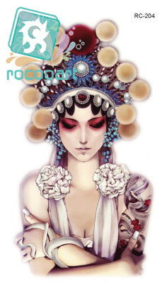 Rocooart RC2204 Waist Shoulder Water Transfer Tattoo Decal Temporary Tattoo Sticker Traditional Opera Girl Fake Tattoo