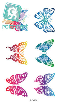 Rocooart RC2268 Waterproof Tattoo Stickers Body Paint Decoration Rainbow Gradient Flying Butterfly Temporary Tattoo Stickers