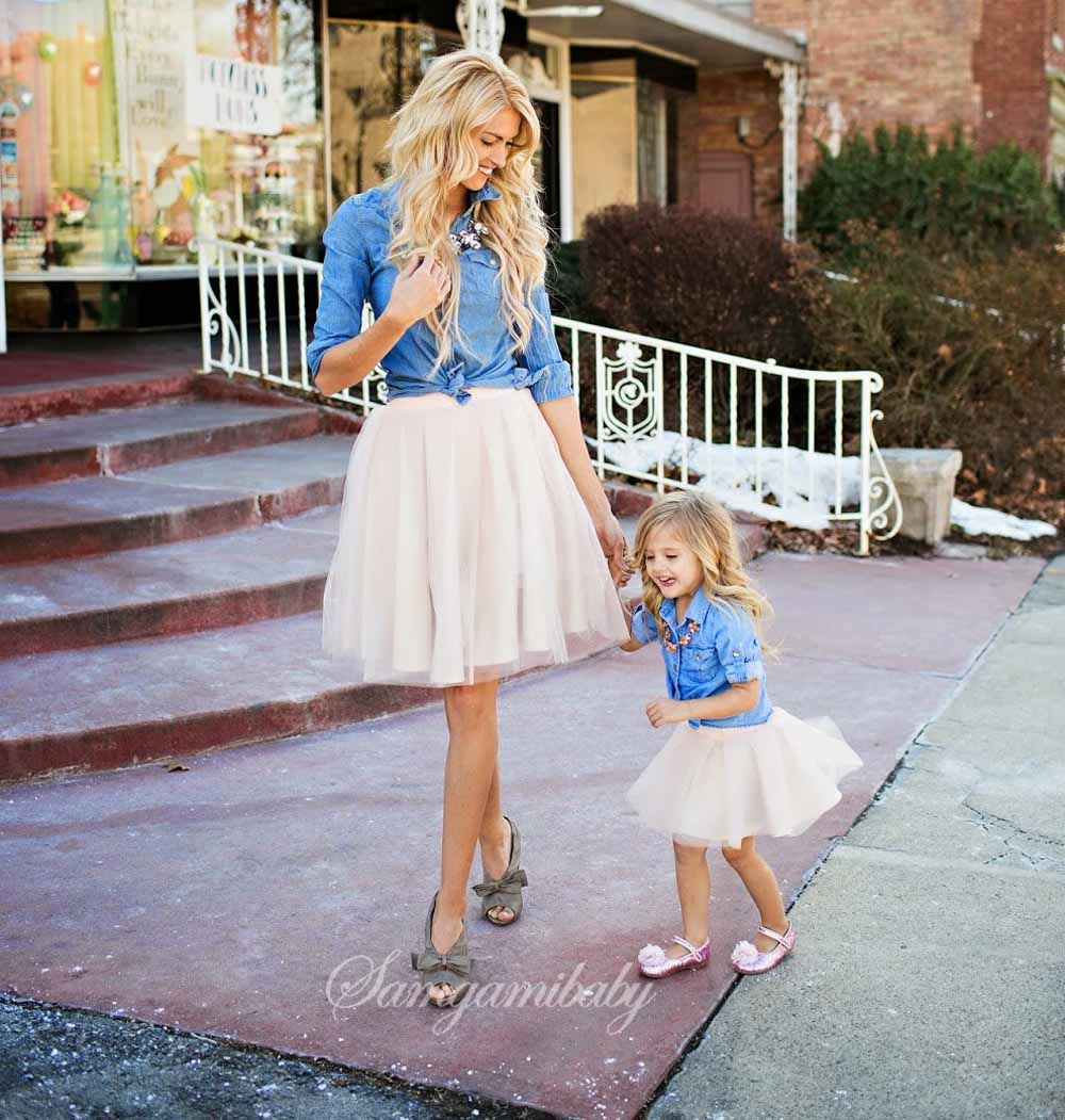 SAMGAMI BABY Parents and Children Clothes Outfit Denim Shirt+skirts 2pcs Family Matching Clothes Suit Mother Daughter Clothes