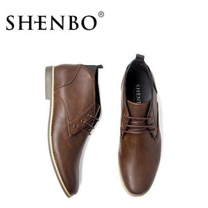 SHENBO Brand Fashion PU Leather Men Boots, Popular Fshion Men Ankle Boots, Men Chukka Boots